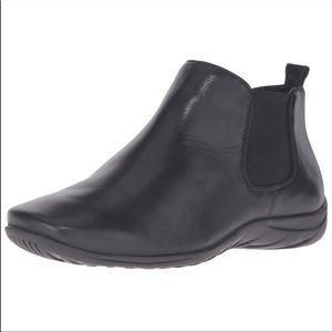 Black Genuine Leather Flat Comfort Ankle Booties